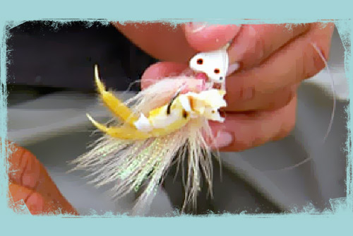 Adding a piece of bait to a bucktail jig fishing lure