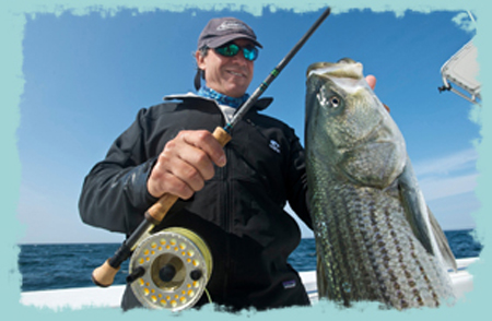 Jose Wejebe tests a G Loomis NRX Fly Rod on a striped bass
